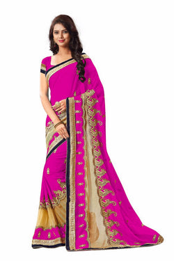 16to60trendz Pink Georgette Embroidery Designer Saree $ SVT00268