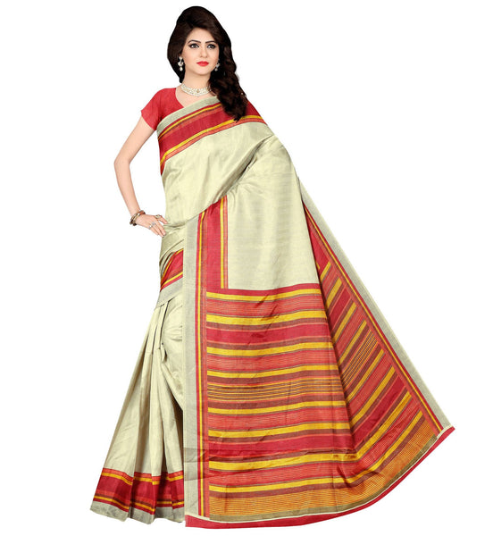 BL Enterprise Women's Bhagalpuri Cotton Silk Red Color Saree With Blouse Piece $ BLLB-56