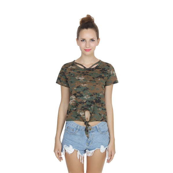Second Half Camo Bow Tie-up Crop Top-SH0009