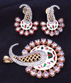 Ankita Fashion Gold Plated Beads AD Ganesha Pendant set $ AF78861261