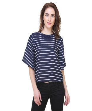 REDPOSE NAVY STRIPED CASUAL TOP