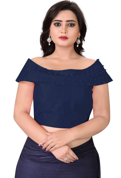 YOYO Fashion Navy Blue Fantom Solid Extra Sleeve With Blouse $YOYO1-BL4006-Navy Blue