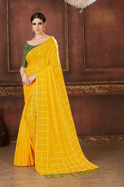Fashion Zonez Printed Two Tone Silk Yellow Designer Saree With Blouse $ FZ 2683