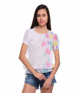 Entease White Poly Georgette Top