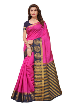 16to60trendz Pink and Blue Tusar Silk Handloom Art Work Kanjivaram saree $ SVT00026