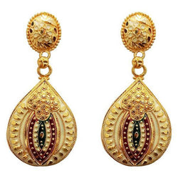 Tanishka Fashion Maroon And Green Meenakari Gold Plated Dangler Earrings $ 1311775