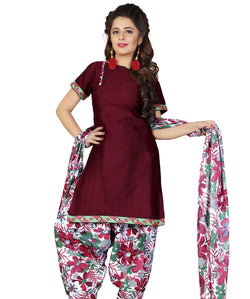 Minu Suits Maroon Cotton Salwar Suits Sets Dress Material Freesize,Satinpatyala_6005