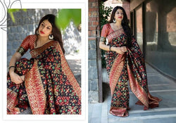 Fashion Zonez Patola weving work Banarasi Patola Silk Black & Red Designer Saree With Blouse $ FZ 2730