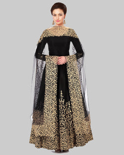 YOYO Fashion Designer Embroidered Tafeta Silk Bridal Anarkali Salwar Suit - F1075