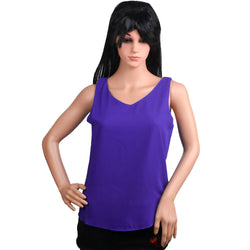 Fashiontiara Chiffon V neck Top & Tunic Sleeveless casual wear Small Size women girls $ FTT167