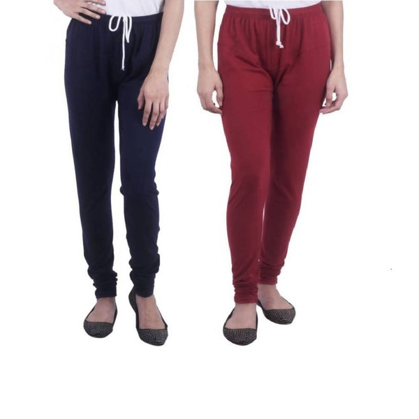 Amihgo Set of Two Women's Churidar Cotton Leggings-Free Size-MAH40020