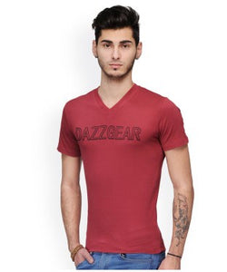 Dazzgear Men's Red V Neck MTV-48 T-Shirt