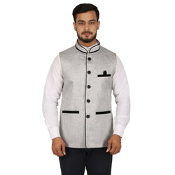 Singhal Fashion Grey Pipin Jute Nehru Jacket