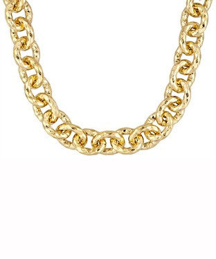 Diamond Cut 18k Yg Over Bronze With White Topaz Clasp Necklace
