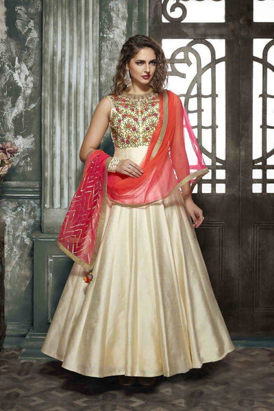 Manvi Fashion Women's Zelmil Silk Fabric Chiku Color Handworked Gown $ MF 1570