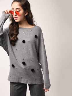 Aiyra Grey Color Wollen Pom pom embellished boat neck top $ AR15801679_Free