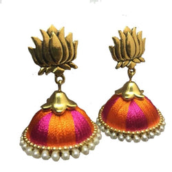 Ailsie Lotus Model Gold Antique Silk Thread Jhumkas With Stone Border - Large