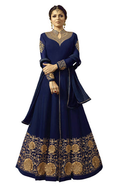 YOYO Fashion Georgette Anarkali Semi-Stitched salwar suit $F1296-Blue