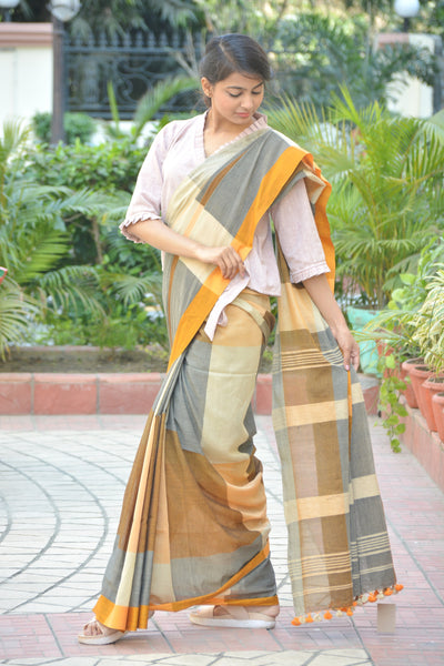 Light Grey and Brown Khadi Cotton Saree with Pom- Pom $ IWK-MUST-01