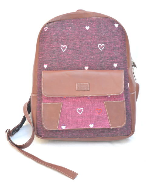 Khadi and Leatherite Heart Embroidery Wine Colored Laptop Bag $ IWK-LPBAG-01