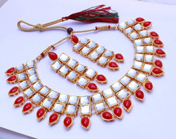 Gold Plated Alloy Metal Hand Crafted Work Women's Red Square Necklace Set $ AF788625