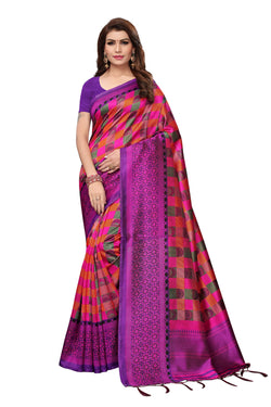 16to60trendz MultiColor Art Silk Printed Mysore Art Silk Saree $ SVT00208
