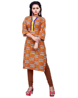 Muta Fashions Women's Stitched Polyster Cotton Orange Knee length kurta $ KURTI404