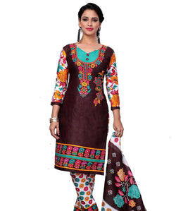 Minu Suits Brown Cotton Salwar Suits Sets Dress Material Freesize,Aliya_1014