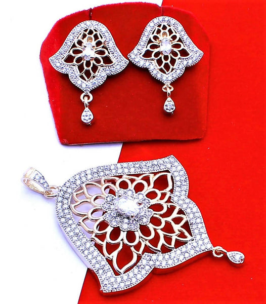 Ankita Fashion Gold Plated American Diamond AD Ghanti Pendant set $ AF78861234