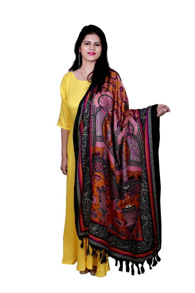 Libas Closet Rayon Maxi Dress/Gown Full with printed Dupatta,3/4 sleeves $ Libas-053