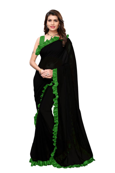 YOYO Fashion Georgette Plain Black saree with Blose $ SARI2654-Green