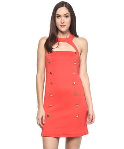 Miway Peach Solid Shift Dress