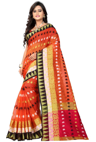 YOYO Fashion Polyester Pink Embroidered Saree With Blouse $ YOYO-SARI2633-Orange