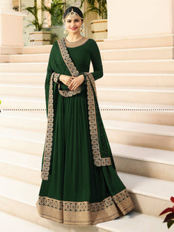 YOYO Fashion  Latest Fancy Semi-stitched Faux Georgette Embroidered Anarkali Salwar Suit $ F1215-Green