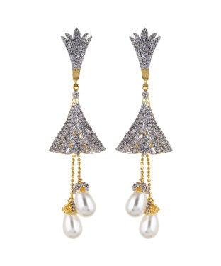 Aradhya Diamond, Pearl Metal Earring Set