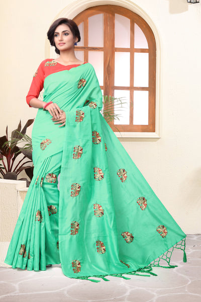 YOYO Fashion New Latest Joya silk C-Green Embroidered Saree With Blouse $YOYO-SS-SARI2650
