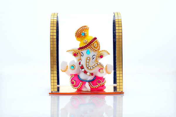 Silver Plated Ganesh Acrylic Idol/Hindu God Ganpathi & Goddess Laxmi Pooja Mandir/Car Dashboard/Office Tabel $ IGSPBR101044