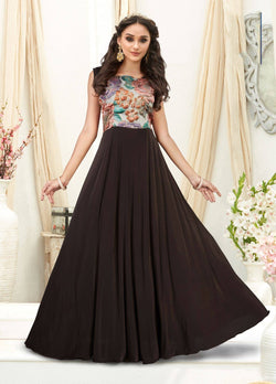 Manvi Fashion Women's Brown Color Jacquard Fabric Embroidery Work Gown $ MF 2546