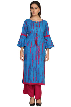 Vaniya Women Cotton Kurta Blue Printed Kurti $ VN-K117