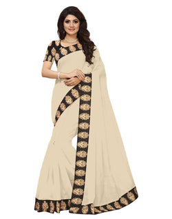 16to60trendz Beige Chanderi Lace Work Chanderi Saree $ SVT00058