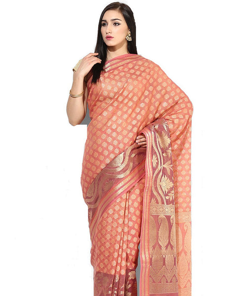 Supernet Cotton Fancy Banarasi Zari Work Saree.JF1302C_Maroon