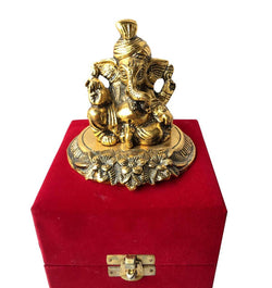Gold Plated Pagdi Ganesha God Idol with Velvet Box Exclusive Gift for Diwali Gift, Corporate Gift and Wedding Return Gifts $ IGSPBR1095
