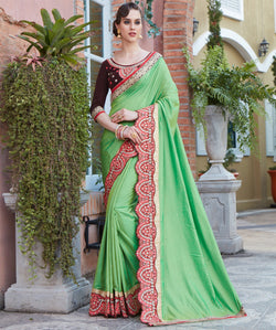 Fashion FizaGreen Paper silk EMBROIDERY Saree with blause pice