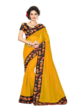 16to60trendz Yellow Chanderi Lace Work Chanderi Saree $ SVT00083