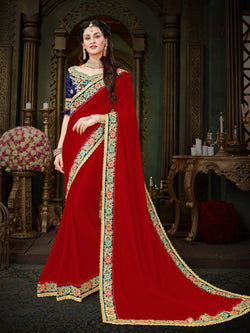 Fashion Zonez Zari Embroidered with lace border Georgette Red Designer Saree With Blouse $FZ 2000