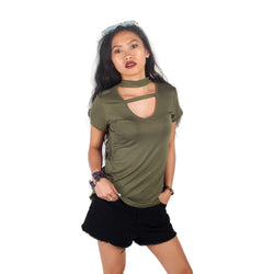 London Rag Womens Olive Color High Neck Ribbed Half Sleeves Top-CL7226
