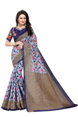 16TO60TRENDZ Grey Color Printed Bhagalpuri Silk Saree $ SVT00505