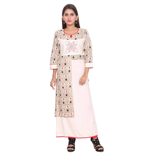 Chhapai 3/4 Sleeve Printed White Straight Chanderi Kurti $ CK-1010