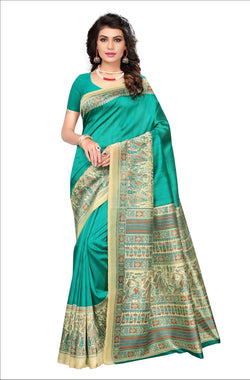 BL Enterprise Women's Bhagalpuri Cotton Silk Kalamkari Turquoise Color Saree With Blouse Piece $ BLLB-31