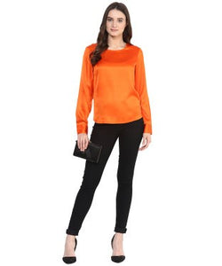 Miway Orange Solid Regular Top